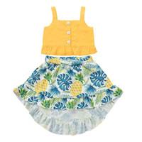 Les filles d'été en coton Tops Blend et Palm Leaf ananas Costume Jupe en deux parties enfants Hauts sans manches et robe ZHT 387