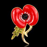 Spilla Royal British Legion Red Diamante Crystal Poppy Flower Pin spilla Remebrance Day Gift Spedizione gratuita DHL