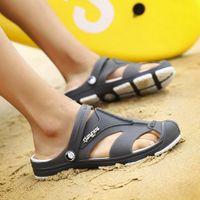 Dailou 남자 샌들 여름 슬리퍼 신발 Croc 패션 비치 샌들 캐주얼 플랫 슬립 플립 플롭 남자 중공 신발 J26