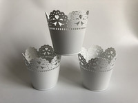 D10XH10CM 화이트 꽃병 미니 꽃 파종기 웨딩 테이블 센트 렌즈 홈 장식 중공 디자인