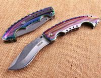 COLD STEEL Spartan Farbige Titan dogleg Dogleg Messer faltender Taschen-kampierende Überlebens-Messer-Weihnachts Messer Geschenk Messer A1218