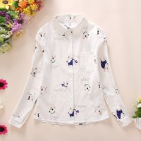 Cartoon Print Cotton Womens Tops And Blouses Autumn Stylish ...