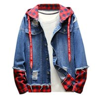 2018 Giacca da uomo autunno-inverno Plaid Vintage Wash Distressed Denim Jacket Coat Top Cappotto uomo college Hommes