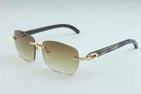 2020 nueva venta directa de fábrica simples gafas de sol de lujo gafas sin marco de lujo A1-3524012 patrón natural negro / vasos del templo cuerno híbrido