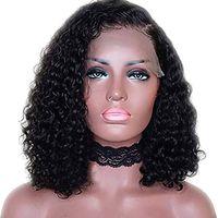 10-22 pollici capelli umani ricci 13x6 parrucca anteriore del merletto della parte profonda della natura capelli neri con parrucche della parte laterale (10 pollici 150% densità