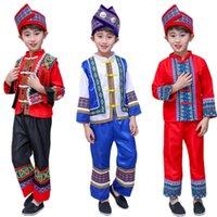 Kinder Ancient Chinese Hmong Miao Costume Traditionelles Festival Stage Performance Waer Jungen Drucken Folk Hanfu Kleid Kleidung Set