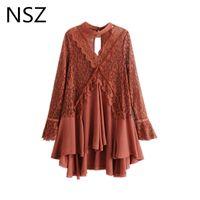 NSZ Kadınlar Dantel Elbise Uzun Kollu Asimetri Mini Yaz Elbise Şeffaf Patchwork Flare Kolları Oymak Elbiseler