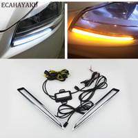 Ecahayaku-Auto-blinkendes LED-Tagfahrlicht-DRL-Tageslicht für Ford Kuga-Escape 2013 2014 2015 2016 mit gelbem Blinker