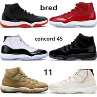 Hot selling bred 11 11s mens basketball shoes cap and gown c...