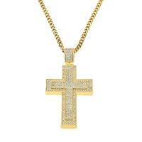 Collar de la manera de los hombres Cross Popular encanto Dismonds Rhinstone collares pendientes punk fresco Hiphop cuello suéter cadena joyería y accesorios de la cadena