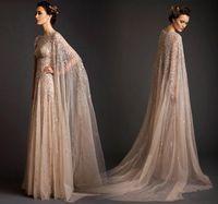 2019 Abendkleider lange Ärmel Abaya Dubai Kaftan Marokkanische Prom Party Kleider Sparkly Perlen Pailletten Eine Linie Tüll Formale Tragen Kleid