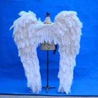 Hight Quality Lujoso Avestruz Featem Angel Alas White Fairy Wings Hermoso Boda Grand Event Deco Props