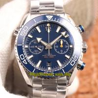 OM V3 Upgrade Versão Planet Ocean 600m 215.30.46.51.03.001 Blue Dial 9900 Cronógrafo Mens automático relógio cerâmico-bezel designer relógios