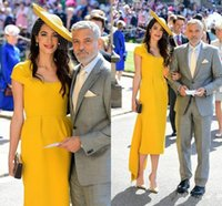 Quente Harry Meghan Markle Vestidos De Noite De Verão Vestidos De Cetim Amarelo Vestidos De Baile De Formatura