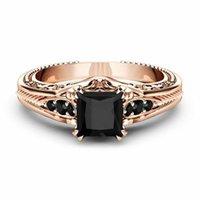 Lusso femminile nuziale bianco Wedding Ring 925 Sterling Silver Set con i monili nero Diamond Princess anello di fidanzamento per le donne R417