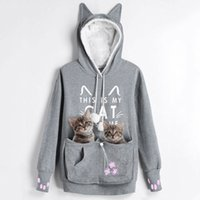 Orecchio Kenancy Cat Lovers cappuccio canguro cane di animale Zampa Emboridery Pullover Cuddle Pouch Felpa con cappuccio Pocket Animal Outwear CJ191225