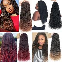 크로 셰 뜨개질 머리 가발 여신 가짜 가짜 컬렉션 옴 브레 아프리카 킨키 소프트 합성 헤어 크로 셰 뜨개질 머리 확장