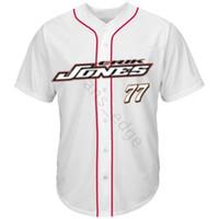 Ucuz Damalı Bayrak Erik Jones 77 Beyzbol Forması Kırmızı Beyaz Erkek Dikişli Formalar Gömlek Boyutu S-XXXL Ücretsiz Kargo