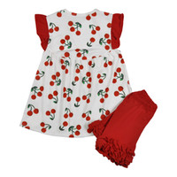 New Summer Girls Clothing Set Kids Cherry Printed Cotton Top...
