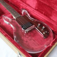 Envío gratis / acrílico LED Guitarra eléctrica / 24 F / Transparente Guitarra eléctrica de plexiglás blanco / 6 cuerdas de guitarra / Joe Perry