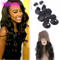 Malaisien vierge cheveux 360 dentelle fontal avec 2 bundles 3 pièces / lot robe de corps Extensions de cheveux Tissu avec une dentelle antérieure avant cueillie