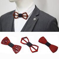 비즈니스 웨딩 아버지 할아버지의 남자 친구 패션 선물 HHA1137를위한 나무 나비 넥타이 디자이너 남성 정장 나비 넥타이 우아한 독특한