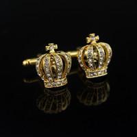 Homens, abotoaduras, fathers, dama, presentes, cheia, strass, coroa, camisa, rei queen casamento noivo tuxedo jóias moda clássico francês cristal