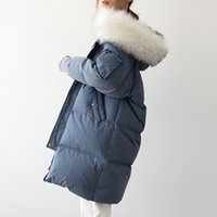 Winter Coat Women Down Jacket Women Large Fur Collar Long Co...
