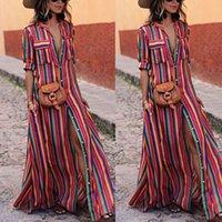 Femme élégante Boho longue Maxi Dress Fashion Lady Soirée d'été Plage Robes Robe Chemise rayée Robe