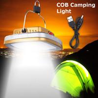 COB LED solaire USB rechargeable Lumière Powered Camping Tente Lampe Portable Extérieur Jardin Veilleuse pour la vente chaude Montagnisme Voyage