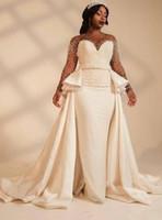 Новый удивительный жемчуг дизайнер African Свадебные платья Свадебные платья Длинные рукава Иллюзия бисера атласная линия суд поезд Свадебные платья Дешевые
