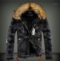 Jean chaquetas de piel gruesa diseñador caliente abrigos de manga larga solo pecho chaqueta de invierno para hombre sólido ocasional