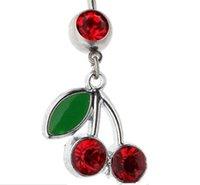 Fashion-самое лучшее качество и цена Оптово-пирсинг ювелирные изделия живота кольцо Navel Ring Cherry мотаться Ring (5шт / LOT)