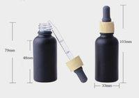 30 мл черный матовый стеклянный флакон-капельница 1 унция косметическое эфирное масло матовое стекло vape бутылка для электронной сигареты ejuice древесное зерно пластиковая крышка OEM