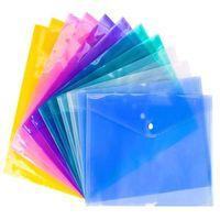 ملف حقيبة A4 مسح الوثيقة ورقة مجلد مدرسة قرطاسية المكتب حالة PP مع زر المفاجئة مغلفات الإيداع شفافة 6colors ملف البلاستيك