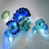 푸른 청록 무라노 꽃 램프 플레이트 예술 데코 지중해 바다 매달려 유리 장식 접시 벽 아트