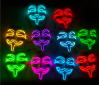 Maschera incandescente Luce fredda V-maschera Maschera Bar KTV Fancy Dress Party Halloween Performance Atmosfera LED Mask
