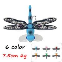 1pc 6 cores misturadas Olhos 3D Dragonfly plástico rígido Iscas iscas de 7,5 centímetros 6g 6 # Slot de Sangue Fishing Hooks FG_32
