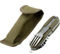 الجيش الأخضر للطي المحمولة المقاوم للصدأ نزهة السكاكين سكين شوكة ملعقة فتاحة أدوات المائدة السفر كيت