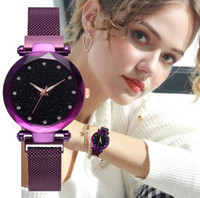 Luxury Women Watches Mesh Lady Clock Magnet Buckle Starry Di...
