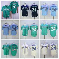 c9ca621bc69 New Arrival. Mens s Seattle Jersey 24 Ken Griffey 51 Randy Johnson Stitched  Mariners White Bule Baseball Jerseys