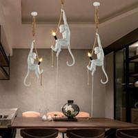 Résine créative moderne Blanc Singe Lampe Loft Vintage Corde Pendentif Suspension de la corde de chanvre pour la maison Bar Cafe Pendentif suspendu rétro