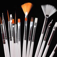 15pcs spazzole di trucco compone le spazzole professionale polacco del gel della pittura del chiodo falso Fiore penna di arte che punteggia l'Lo strumento Traccia e naturale