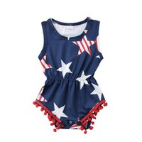 Abbigliamento per Neonate Neonate Fourth of July Bambini Baby Girls Star Pagliaccetto Tute Playsuit Outfits