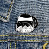 Kaffee-Topf-Brosche Denim-Bekleidung Tasche Schnalle Anstecker Gothic Punk Schmuck-Geschenk für Freunde