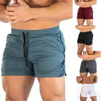 Men Solid Elastic Waist Workout Training Shorts Pants Runnin...