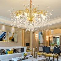 Lámpara colgante de cristal atmosférico posmoderno Lámpara de la sala de estar de alta gama Habitación Restaurante Chandeliers Iluminación Hotel Villa Luz de colgante de lujo Myy