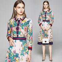 Yeni Lüks Moda Çiçek Baskı Tasarımcısı Kadınlar Pileli Gömlek Elbise 2020 Pist Zarif Bayanlar Ince Rahat Ofis Elbiseler Düğme Uzun Kollu