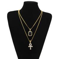 Hip Hop Men Jewelry Bling Mini Piazza ghiacciato fuori la chiave della pietra preziosa collana rubino pendente Set