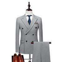 Gris claro / Negro Hombre de novio TUXEDOS Hombres de doble pechugas de boda TUXEDOS PEAK PEAK Sapa Chaqueta Blazer Hombres Cena / Darty Traje (chaqueta + pantalones + corbata) 1132